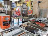Harley Davidson Oil Cans, Antique Lantern, Swingsout Oil Can, Gas Pump Handle, and More