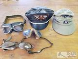 3 Vintage Motorcycle Goggles, Vintage Harley Davidson Hat and a Hat with Nazi Reichsadler Patch