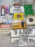 12 Signs Including Gulf Gasoline Thermometer, Route 66, No Trespassing and More