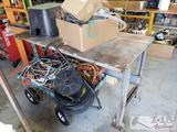 Metal Work Bench, Irrigation Control Valve Cover, Hoses, and Tubing