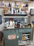 Work Bench with Assorted Cleaners, Oil, Glue Bug Killer and More