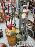 6 Oxygen and Acetylene Tanks with Torches, Some Tanks are Full