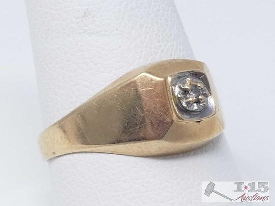 14k Gold Ring with Diamond, 3g, Size 9.5