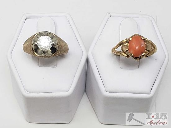 2 Ladies 14k Gold Rings 11g, Size 7 and 9