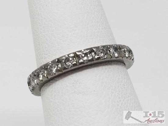14k White Gold Diamond Band 3.6g, Size 6