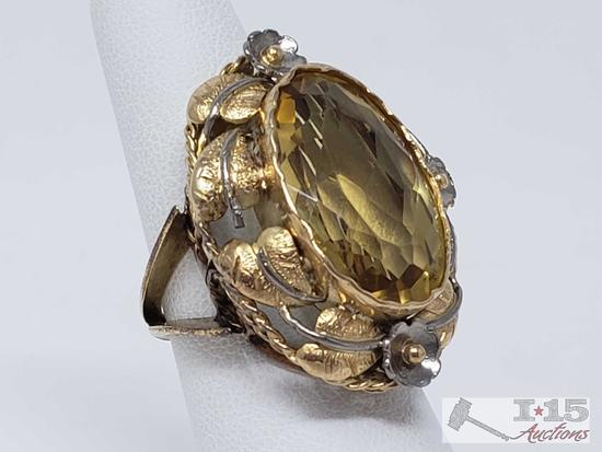 14k Ring with a 6+ ct Citrine 13.5g, Size 6.5