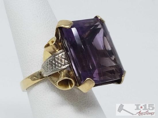 14k Gold Ring with 6+ ct Amethyst, 12.7g, Size 6.5