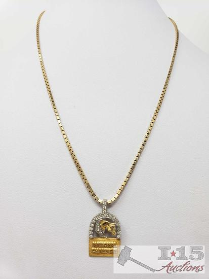 """14k Gold Necklace with Diamond Horse Pendent 16.8g, 18"""""""
