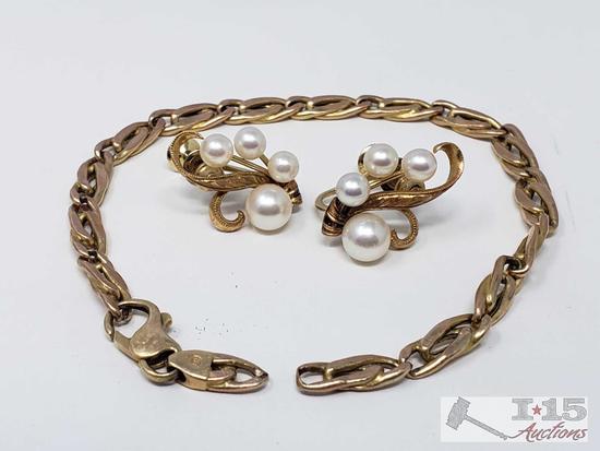 14k Gold Clip On Earrings and Bracelet 10g