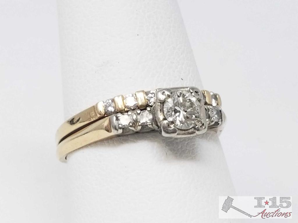 14k Gold Ring with a 1/4 ct Center Diamond and Accent Diamonds, 4g, Size 8.5