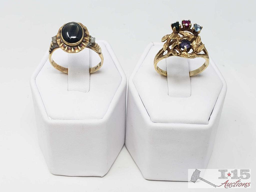 2 Ladies 14k Gold Rings, 9g, Size 9 and 9.5