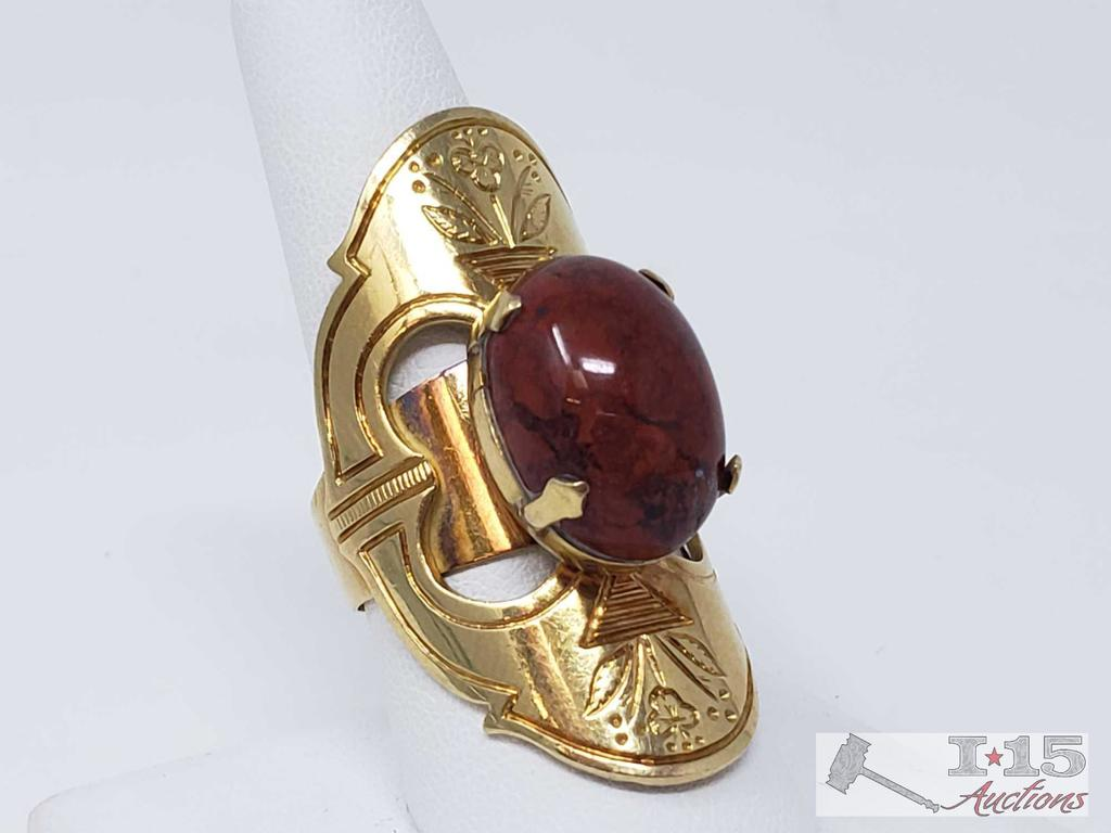 18k Gold Ring With Large Center Stone 21.9g, Size 8.5