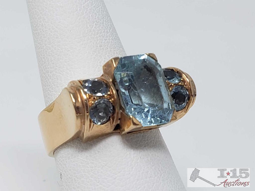 18k Gold Ring with 3.5ct Aquamarine 12.8g, Size 8