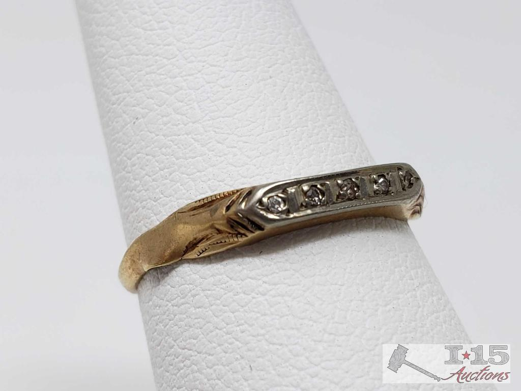 14k Gold Ring with Diamonds 1g, Size 5