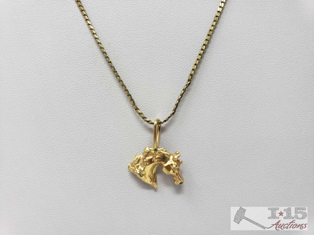 """14k Gold Horse Pendent on 24"""" Chain 2g"""