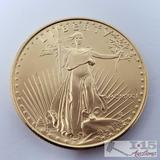1991 1 oz Fine Gold $50 Walking Liberty Coin in Case