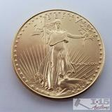 1986 1 oz Fine Gold $50 Walking Liberty Coin in Case