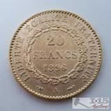 .900 Fine Gold 1896 French 20 Francs Coins in Case 6.5g