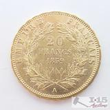 .900 Fine Gold 1859 French 20 Francs Coins in Case 6.5g