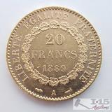 .900 Fine Gold 1889 French 20 Francs Coin in Case 6.4g