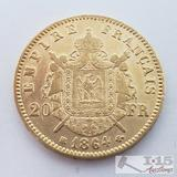 .900 Fine Gold 1864 French 20 Francs Coin in Case 6.4g