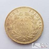 .900 Fine Gold 1855 French 20 Francs Coin in Case 6.4g
