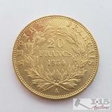 .900 Fine Gold 1854 French 20 Francs Coin in Case 6.4g