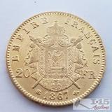 .900 Fine Gold 1867 French 20 Francs Coin in Case 6.5g