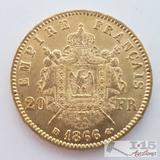 .900 Fine Gold 1866 French 20 Francs Coin in Case 6.5g