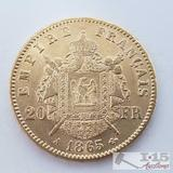 .900 Fine Gold 1865 French 20 Francs Coin in Case 6.5g