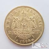 .900 Fine Gold 1868 French 20 Francs Coin in Case 6.4g