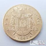.900 Fine Gold 1862 French 20 Francs Coin in Case 6.4g