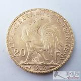 .900 Fine Gold 1912 French 20 Francs Coin in Case 6.4g