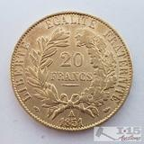 .900 Fine Gold 1851 French 20 Francs Coin in Case 6.4g