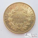 .900 Fine Gold 1852 French 20 Francs Coin in Case 6.4g