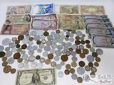 Blue Seal Dollar and Assorted Foriegn Paper Money and Coins,