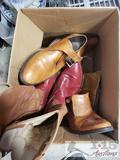 2 Pairs of cowboy boots Size 11.5 and a pair of Shoes