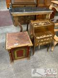 Entry table, small desk and cupboard