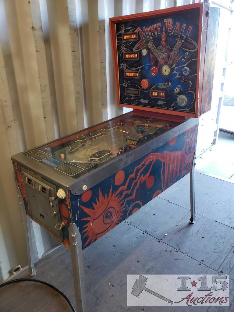 Nine Ball by Stern Electronics, Inc Pin Ball Machine. Working, See Video!!