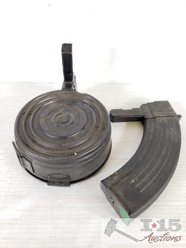 2 Magazines for SKS Rifle, 75 Round Drum Mag and 30 Round Mag