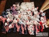 ty Beanie Babies, Righty, Lefty, Spangle, Libearty, Patriot, The Beginning, Glory, and USA