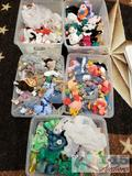 5 Totes of Beanie Babies, Kicks, Echo, Sting, Erin, Strut, Crunch, Seamore, Maple, and Many More