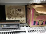 Vintage Hair Dryer, Radio, Icecream Maker, and Rolling Storage Trunk