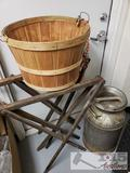 Antique Milk Can with Apple Basket and Folding Wooden Sawhorse Like Stands