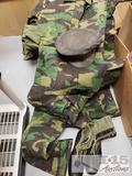 Vintage Military Boots, Hat, and Camo Clothing