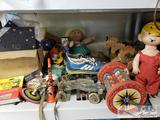 Vintage Toys. Roller Skates, Woody Wood Pecker, Wooden Horses, Yo Yos, and More