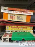 Vintage Board Games. Risk, Partridge Family, Masterpiece, Moppets Puzzle, Texas Trivia, Cribbage
