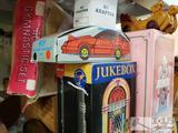 Vintage Toys. Wooden Ducks, Mini Juke Box, Music Box, Car Pencil Box, Sand Station, and More