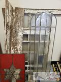 Antique Window Frames with Stained Glass, Window Weights, and Ace Paper Holder/Cutter