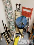 Lawn Chairs, Golf Clubs, Umbrella, Croquet Mallets, and Sprinkler,